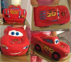 Lightning McQueen Cars Cake tutorial with how-to video and template by Ann Reardon Fondant Car Cake easy step by step tutorial Lightning Mcqueen Birthday Cake, Lightning Mcqueen Cake, Mcqueen Car Cake, Cars Birthday Parties, Cake Birthday, Birthday Ideas, Car Cake Tutorial, Disney Cupcakes, How To Make Icing