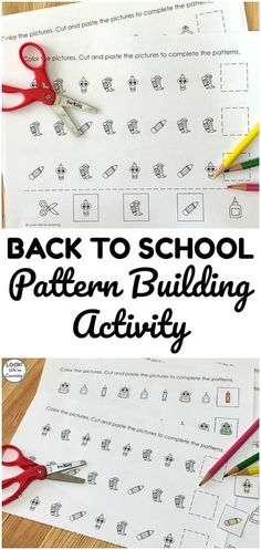This printable school supply pattern building activity is a fun way to get students back into using math in the new school year! Kindergarten Learning, Teaching Math, Fun Learning, Preschool Activities, Simple Math, Basic Math, Math Patterns, Creative Writing Prompts, Early Math