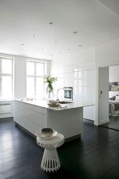 Scandinavian white walls anchored by dark floors