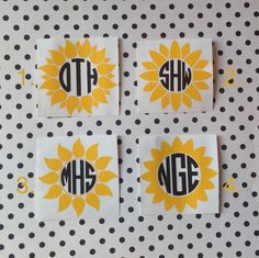 Sunflower Monograms | Flower Monograms | Sunflower Car Decal | Sunflower Cup Decal | Preppy Decal | Preppy Monograms | Country Decals | Prep by MMVinylCreations on Etsy https://www.etsy.com/listing/231348017/sunflower-monograms-flower-monograms