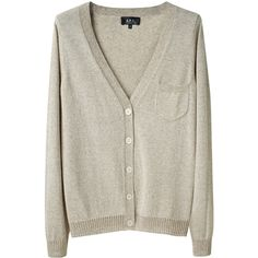 A.P.C. V-Neck Pocket Cardigan ($113) ❤ liked on Polyvore