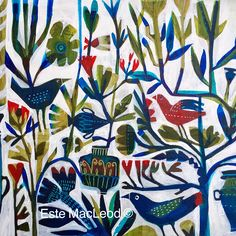 'Grecian birds' acrylic on linen urns and habitat of Greece inspired this painting.