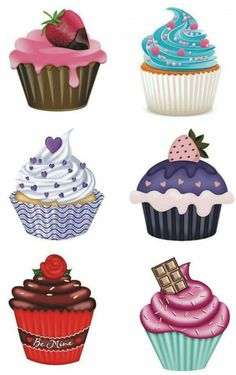 R Cupcake Drawing, Cupcake Art, Decoupage Vintage, Decoupage Paper, Cupcake Clipart, Cupcake Illustration, Birthday Clipart, Cupcake Images, Food Drawing