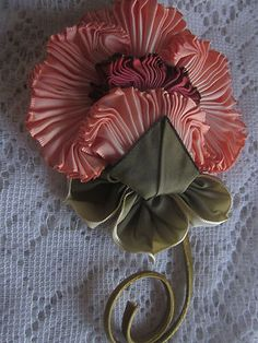 French Ombre Antique Style Millinery Ribbon work Flower Pin Holiday Sale 3 Days Only | eBay
