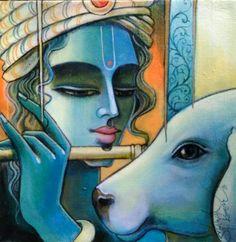 Music arte canvas life 41 ideas for 2019 Indian Art Gallery, Indian Artwork, Indian Folk Art, Indian Artist, Krishna Drawing, Krishna Art, Lord Krishna, Shiva, Radhe Krishna