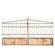 Kingsley Iron Gate at Found Vintage Rentals. Rusted iron gate with detailing all throughout.  This rustic piece would make a beautiful back drop or display piece at an outdoor event.