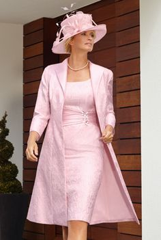 2015 Plus Size Wedding Party Dresses Pink Mother of the Bride Lace Dresses with Jacket Knee Length Vestido Para Mae Da Noiva
