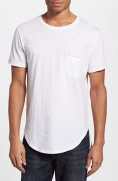 Free shipping and returns on The Rail 'Horizon' Long Line Pocket T-Shirt at Nordstrom.com. A soft slub cotton T-shirt is generously cut in the body with an longer length and around the neck and features a combination rounded/square hem.