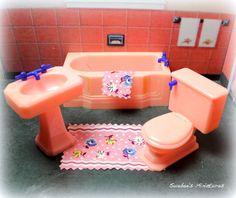 """Renwal Vintage Dollhouse Furniture Old Fragile Pink Bathroom 3 4"""" Fits Marx   eBay"""