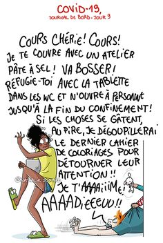 Illustration : Nathalie Jomard - grumeautique.blogspot.fr Work From Home Moms, Political Cartoons, Acting, Politics, Lol, Messages, Humor, Comics, Memes