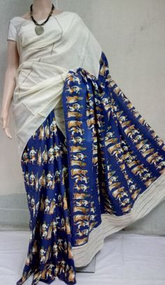 Khes gurjuri sarees with printed blouse Kalamkari Fabric, Kalamkari Dresses, Kalamkari Saree, Fabric Painting On Clothes, Painted Clothes, Indian Attire, Indian Wear, Indian Style, Elegant Fashion Wear