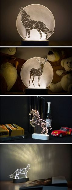 Sturlesi Design creates modern lamps that are simultaneously practical home decor and art objects. Their minimalist design reimagines animals as angular, geometric shapes, with LED lights hidden in. Design Despace, Deco Design, Lamp Design, Lighting Design, Lighting Ideas, Home Decor Accessories, Decorative Accessories, Decorative Objects, 3d Laser
