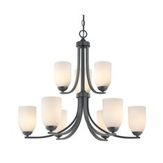 Two Tier Black Chandelier with Opal White Glass and Nine Lights | 586-07 GL1024D | Destination Lighting