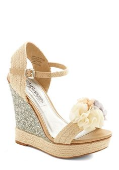 I Thee Wedge - High, Woven, Tan, Silver, Solid, Flower, Daytime Party, Weekend, Spring, Better, Platform, Wedge, Espadrille, Wedding, Bride