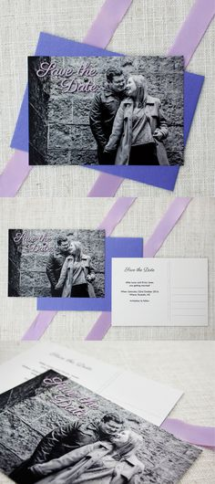 lilac purple save the date cards