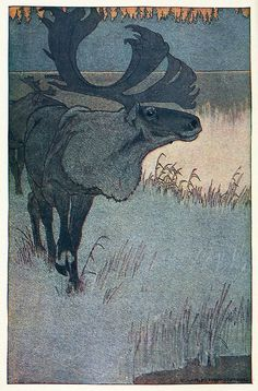 Ch. Livingston Bull, Frontispiece to The haunters of the silences, by  Charles G. D. Roberts, Boston, 1907. Via archive.org