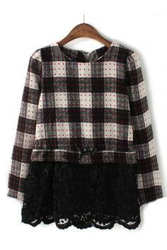 Plaid Pattern Lace Hem Wool Dress