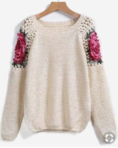 To find out about the Apricot Floral Crochet Hollow Loose Sweater at SHEIN, part of our latest Sweaters ready to shop online today! Crochet Cardigan, Cardigan Pattern, Knit Crochet, Knitting Patterns, Crochet Patterns, Loose Sweater, Crochet Fashion, Crochet Clothes, Pulls