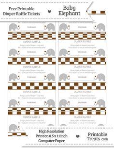 free magenta checker pattern baby elephant diaper raffle tickets