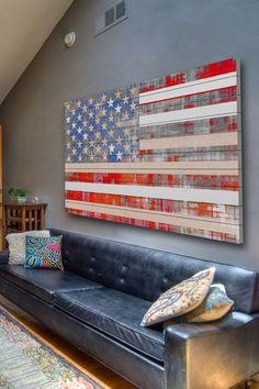 American Flag Wall Art in Wood