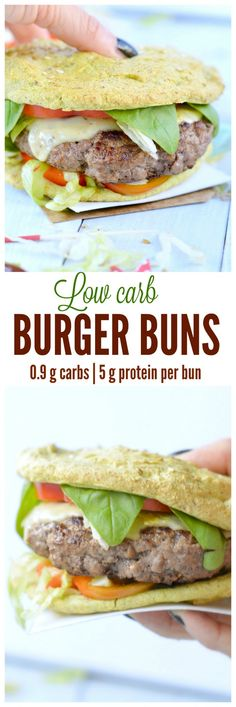 My Fav Healthy Burger bun recipe! This Low Carb Avocado Burger Buns are made with only 5 ingredients, NO cheese and ready in 15 minutes! A must try if you are craving for bread on your low carb diet. (Diet Recipes No Carb) Paleo Recipes, Low Carb Recipes, Cooking Recipes, Paleo Ideas, Bariatric Recipes, Hamburger Recipes, Dessert Recipes, High Carb Foods, Low Carb Diet