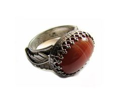 Sterling Silver and Red Sardonyx Ring by Jewelry24Seven on Etsy, $114.99