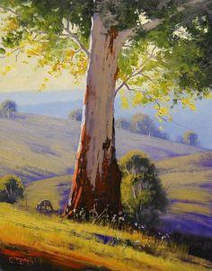 Summer Morning Australia by Artsaus Oil Painting Watercolor Landscape, Landscape Art, Landscape Paintings, Watercolor Paintings, Painting & Drawing, Watercolour, Inspiration Artistique, Australian Artists, Tree Art