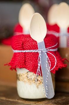 vintage railroad train party with yogurt parfaits served in mason jars with a wooden spoon decorate with striped washi tape