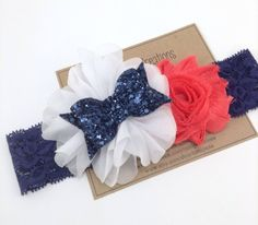 Navy & Coral Headband Nautical Headband Glitter Bow by turniptots