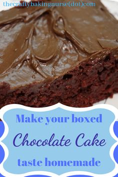 saftiger schnell Make your chocolate boxed cake mix taste like it came from a bakery. The post Make Boxed Chocolate Cake Taste Like Bakery Cake appeared first on Dessert Platinum. Chocolate Box Cake, Chocolate Cake Mix Recipes, Box Cake Recipes, Homemade Chocolate, Chocolate Icing, Chocolate Covered, White Chocolate, Box Cake Mix, Cake Tasting