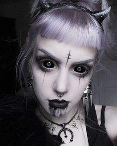 """manic-moth: """" Demon Girl Makeup of today . For some reason I'm still not really in a Halloween mood. So, I tried to get more motivated by painting my face a bit more """"evil"""" than usual . Beautiful necklace from @shopdixi , black lipstick from..."""