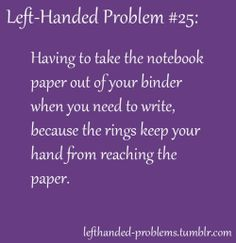 Left handed problems. My solution: Start at the back of the notebook and work backward, or turn it upside down.