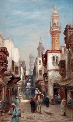 Bazaar Street in Cairo - Frans Wilhelm Odelmark