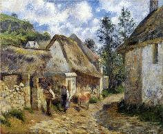A Street in Auvers (Thatched Cottage and Cow) - Camille Pissarro - 1880  .................#GT