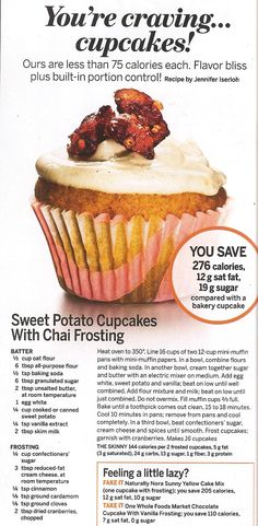 SWEET POTATO CUPCAKES WITH CHAI FROSTING from SELF