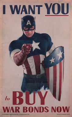 """Captain America """"I Want You"""" war bonds poster. Poster measures 22 in. x 36 in. and features Captain America in an Uncle Sam tribute """"I Want You to Buy War Bonds Now."""" This style poster is visible in the sequence following Captain's stage appearance while backstage posing for pictures. The poster exhibits only traces of handling from production use. Accompanied by a certificate of authenticity."""