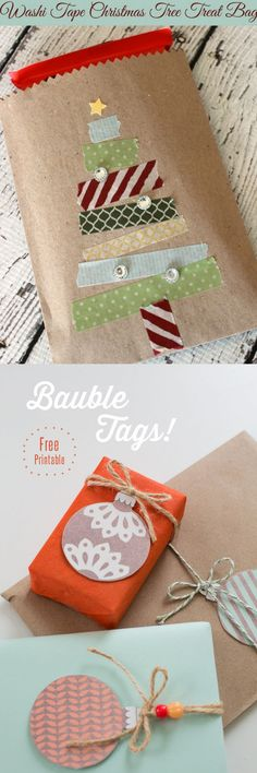 16 Favorite Easy Gift Wrapping Ideas (Many are Free!) 16 inspiring gift wrapping hacks on how to make instant gift bags and beautiful gift wraps in minutes, using re-purposed materials for almost free! - A Piece Of Rainbow Christmas Gift Wrapping, Christmas Tag, Diy Christmas Gifts, Holiday Gifts, Homemade Christmas, Holiday Cards, Creative Gift Wrapping, Creative Gifts, Diy Wrapping