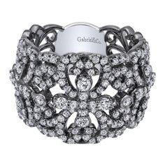 Gabriel & Co 14k White Gold Diamond Ring with Black Rhodium