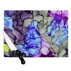 "Use alcohol ink on a large tile & seal to make a cutting board...OR get a piece of glass, then alcohol ink, seal, add cork bumper, then flip over!!! So design is underneath.  Could use thoughts of Claire Day ""String Theory""... LC"