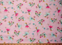 Pink Fairies Fairy 100% cotton 1 yard 44wide by AmandasFabrics on Etsy