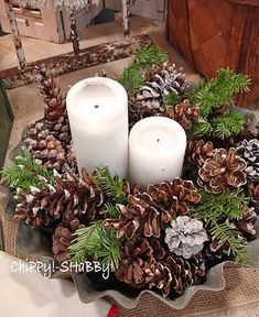 you could even use a premade Christmas wreath and add a few more pine cones and place candles in the center. Noel Christmas, Country Christmas, Winter Christmas, All Things Christmas, Christmas Crafts, Natural Christmas, Nordic Christmas, Modern Christmas, Christmas Wedding