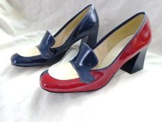 Vintage Shoes 60s Chunky Heels Loafers Mad Men by HerHappyHeart, $24.00