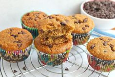These Banana Chocolate Chip Muffins are a recipe on the lighter, low fat side of things. Nutritional information, weight watchers points included.