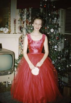 Lady in Red. Christmas 1950's.