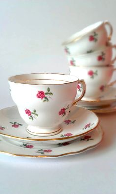 Colclough Rose Teacup and Saucer Trio £15.00, via Etsy.