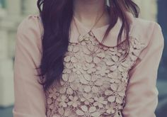 Peachy lace blouse and peter pan collar