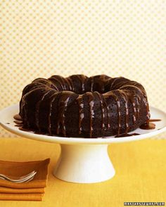 Chocolate-Ginger Cake with Bourbon Sauce - Cake was short. Use smaller pan or make 1-1/2 recipe.