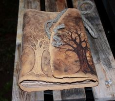 Leather wedding guest book journal Trees of life 10 by crearting