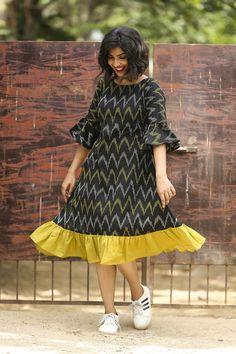 Black Ikat Zig Zag Ruffled Dress is part of Kalamkari dresses - Casual Cotton Ikkat Aline Dress with Ruffles and Bell Sleeve Long Gown Dress, Frock Dress, Ruffle Dress, Middy Dress, Saree Dress, Kalamkari Dresses, Ikkat Dresses, Dress Neck Designs, Blouse Designs