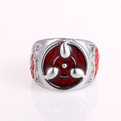 Hot Selling Anime Naruto Ring Sharingan Pattern Cosplay Jewelry for Women Men Costume Siza 9 Rings Wholesale & Retail JJ10678
